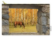 Stone Window View And Beautiful Horse Carry-all Pouch
