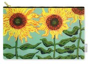 Three Sunflowers Carry-all Pouch by Genevieve Esson