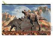 Tyrannosaurus Rex And Triceratops Meet Carry-all Pouch