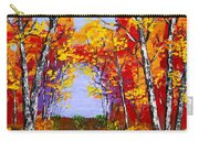 White Birch Tree Abstract Painting In Autumn Carry-all Pouch