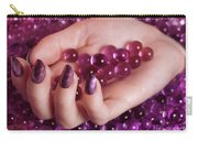 Woman Hand With Purple Nail Polish On Candy Carry-all Pouch