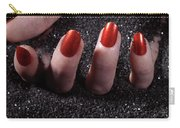 Woman Hand With Red Nails On Black Sand Carry-all Pouch