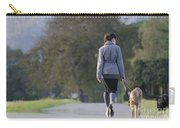 Woman Walking With Her Dogs Carry-all Pouch