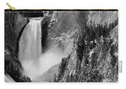 Yellowstone Waterfalls In Black And White Carry-all Pouch