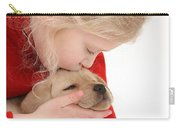 Young Girl With Yellow Labrador Carry-all Pouch