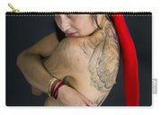 Young Woman Wearing Santa Hat Carry-all Pouch by Ilan Rosen