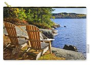 Adirondack Chairs At Lake Shore Carry-all Pouch by Elena Elisseeva