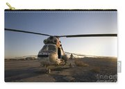 An Iraqi Helicopter Sits On The Flight Carry-all Pouch