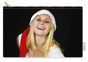 Blonde Woman With Santa Hat Carry-all Pouch