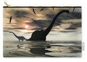 Diplodocus Dinosaurs Bathe In A Large Carry-all Pouch