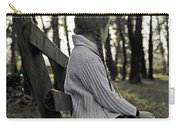 Girl Sitting On A Wooden Bench In The Forest Against The Light Carry-all Pouch