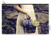 Girl With Flowers Carry-all Pouch by Joana Kruse