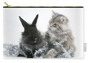 Kitten And Rabbit Getting Into Tinsel Carry-all Pouch by Mark Taylor