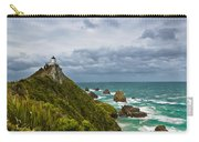 Nugget Point Light House And Dark Clouds In The Sky Carry-all Pouch
