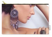 Portrait Of A Beautiful Woman Wearing Jewellery Carry-all Pouch