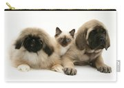 Puppies And Kitten Carry-all Pouch by Jane Burton