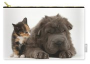 Shar Pei Puppy And Tortoiseshell Kitten Carry-all Pouch