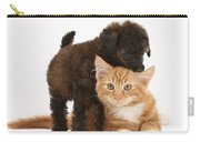 Toy Poodle Puppy With Kitten Carry-all Pouch