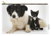Border Collie And Tuxedo Kitten Carry-all Pouch