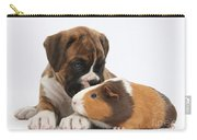 Boxer Puppy And Guinea Pig Carry-all Pouch by Mark Taylor