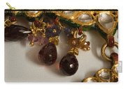 3 Hanging Semi-precious Stones Attached To A Green And Gold Necklace Carry-all Pouch