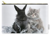 Kitten And Rabbit Getting Into Tinsel Carry-all Pouch