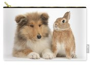 Rough Collie Pup With Rabbit Carry-all Pouch