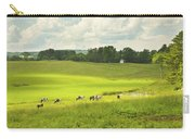 Cows Grazing On Grass In Farm Field Summer Maine Carry-all Pouch