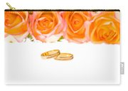4 Red Yellow Roses And Wedding Rings Over White Carry-all Pouch