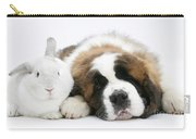 Saint Bernard Puppy With Rabbit Carry-all Pouch