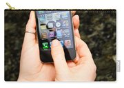 Hands Holding An Iphone Carry-all Pouch by Photo Researchers, Inc.