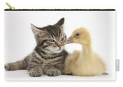 Tabby Kitten With Yellow Gosling Carry-all Pouch