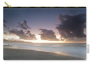 A Beach During Misty Sunset With Glowing Sky Carry-all Pouch