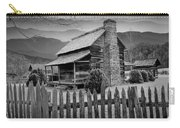 A Black And White Photograph Of An Appalachian Mountain Cabin Carry-all Pouch