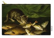 A Cat With Trout Perch And Carp On A Ledge Carry-all Pouch