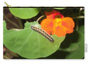 A Caterpillar Eating The Leaves Of A Plant With A Beautiful Orange Flower Carry-all Pouch