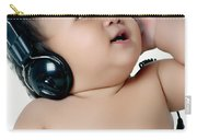 A Chubby Little Girl Listen To Music With Headphones Carry-all Pouch