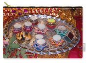 A Decorated Hindu Prayer Thaali With Wax Candles Oil Lamps Carry-all Pouch
