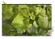 A Green Leafy Vegetable Plant After Watering In Bright Sunrise Carry-all Pouch