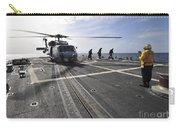 A Helicpter Sits On The Flight Deck Carry-all Pouch