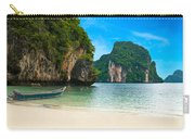 A Long Tail Boat By The Beach In Thailand  Carry-all Pouch