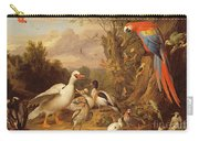 A Macaw - Ducks - Parrots And Other Birds In A Landscape Carry-all Pouch