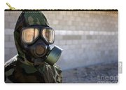 A Marine Wearing A Gas Mask Carry-all Pouch