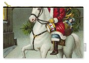 A Merry Christmas Card Of Santa Riding A White Horse Carry-all Pouch