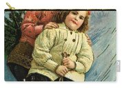 A Merry Christmas Postcard With Sledding Girls Carry-all Pouch