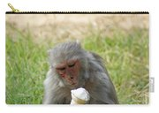 A Monkey Enjoying An Ice Cream Cone Inside Delhi Zoo Carry-all Pouch