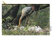 A Painted Stork Feeding Its Young At The Delhi Zoo Carry-all Pouch