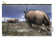 A Pair Of Male Elasmotherium Confront Carry-all Pouch