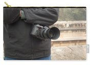 A Photographer With His Digital Camera On Location At A Historical Monument Carry-all Pouch