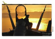 A Plane Captain Enjoys A Sunset Carry-all Pouch